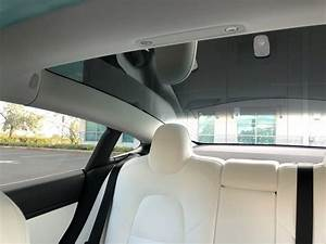 Interior shot of Tesla Model 3 with white interior and tinted side windows – Tesla Model 3 Wiki