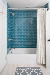 blue subway tile Bathroom Contemporary with attic beige