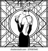 Flapper 1920s Coloring Shutterstock Template sketch template