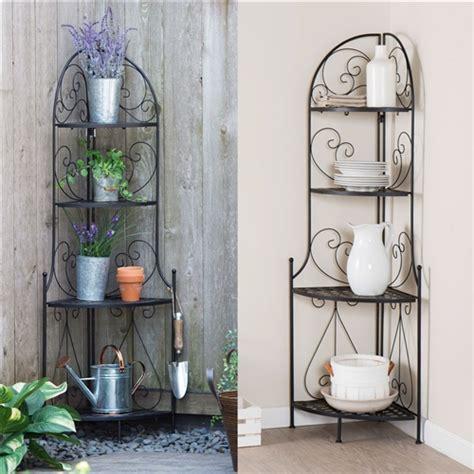 indoor outdoor corner bakers rack folding metal plant stand   shelves fastfurnishingscom