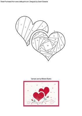 hearts iris folding pattern cup craftsuprint