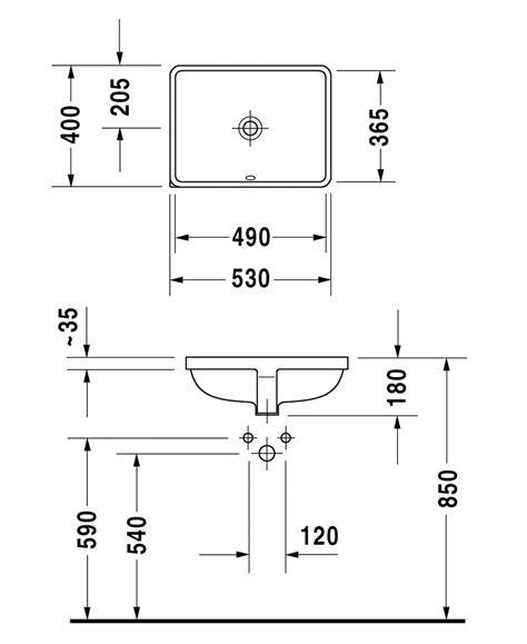 designer bathroom accessories duravit p3 comforts 490mm undercounter basin 0305490000