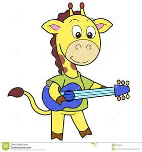 Cartoon Giraffe Playing Guitar