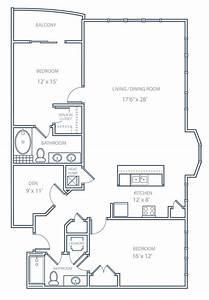 Floor, Plan, 2, Bedroom, Condo