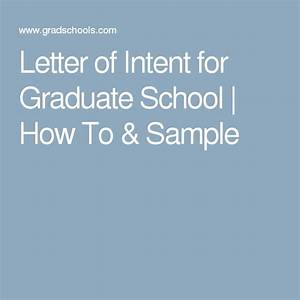 Letter Of Intent For Graduate School
