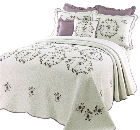 Floral Quilts And Coverlets by Beautiful White Green Purple Lavender Floral Quilt
