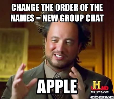 Group Chat Meme - change the order of the names new group chat