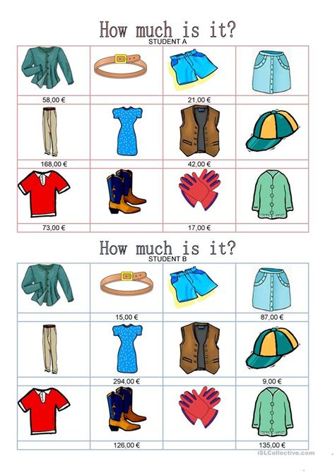 Fashion  How Much Is It? Worksheet  Free Esl Printable Worksheets Made By Teachers