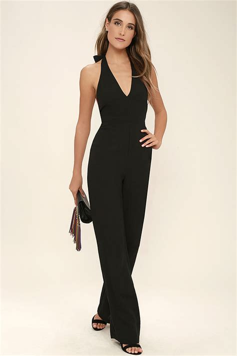 lulus jumpsuit cool black jumpsuit halter jumpsuit wide leg jumpsuit