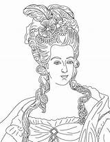 Coloring Marie Antoinette Queen French Reine Pages Coloringsky Adult Colour sketch template