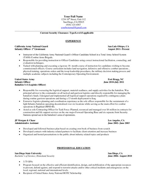 Us Army Infantry Resume by Infantry Resume Free Excel Templates
