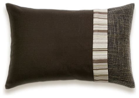 brown lumbar pillow chocolate brown beige stripe lumbar decorative throw