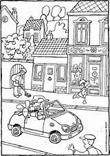 Coloring Rue Dans Voiture Straat Une Dessin Kiddicolour Kiddicoloriage Colouring Colour Streets Coloriage Strasse Einer Ein Kiddimalseite Ausmalen Kinder Houses sketch template