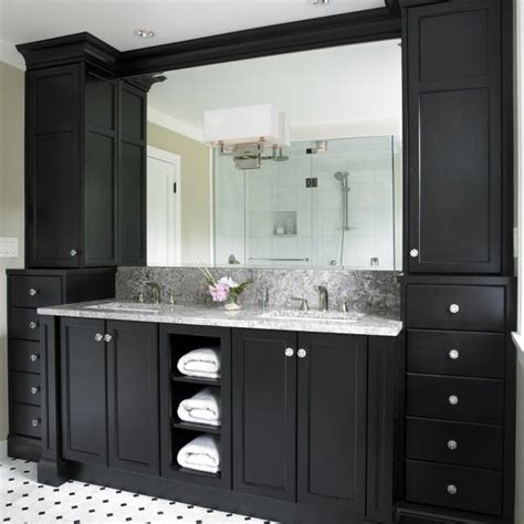 Black Cabinets Bathroom by Black Bathroom Cabinets With White And Grey Counter Top