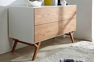 Commode En Bois : commode vintage scandinave blanche et bois ata dewarens ~ Teatrodelosmanantiales.com Idées de Décoration