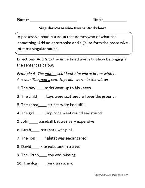 singular possessive nouns worksheets downloads
