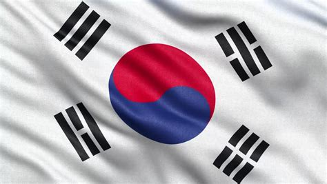 Flag Of South Korea Gently Waving In The Wind. Seamless