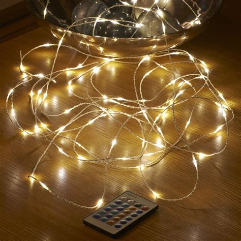 micro led string lights mains powered remote controlled  auraglow led lighting