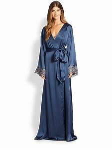 la perla vestaglia lunga silk robe in blue lyst With robe la perla