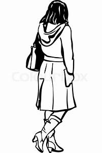 Black and white vector sketch of a girl in a coat with a ...