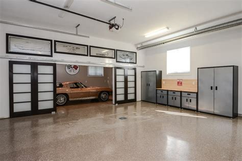 garage work station garage contemporary with frosted barn doors modern