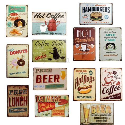 retro plaque metal food émaillée affiche mural