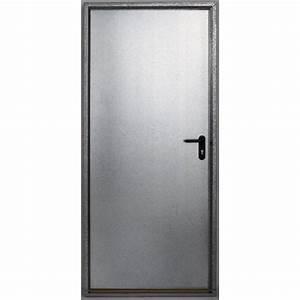 porte de service acier galvanisee securite poussant gauche With porte de garage coulissante jumelé avec bloc porte métallique