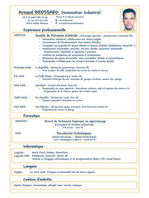 apprentissage en cuisine restauration cv arnaud brossard dessinateur industriel 2010 pdf