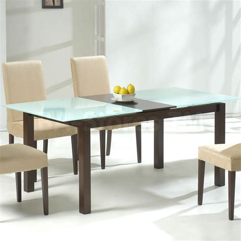 Rectangle Glass Dining Table With Dark Brown Wooden Bases