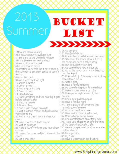 bucket list 2014 summer list 50 ideas activities for family the pinning