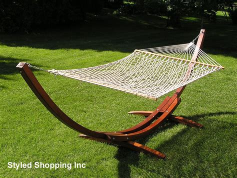Wooden Hammock by Deluxe Wood Arc Two Person Wood Hammock Stand Set