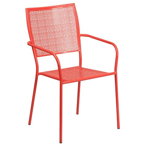 coral indoor outdoor steel patio square back arm chair