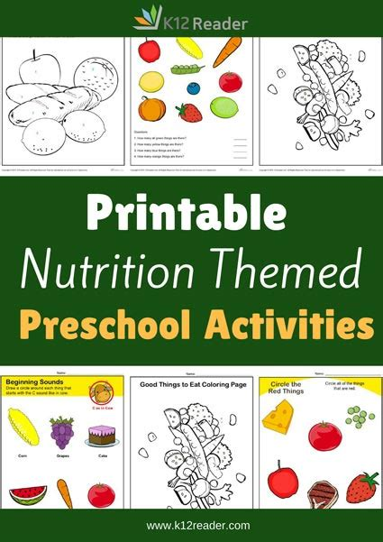 nutrition preschool theme activities printable classroom 301 | NutritionThemeActivities