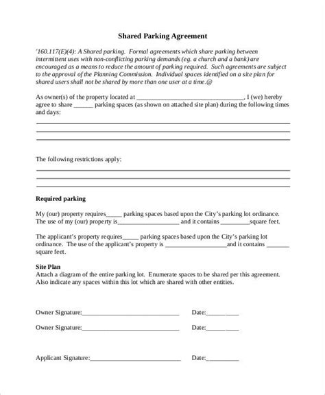 sample parking agreement templates   ms