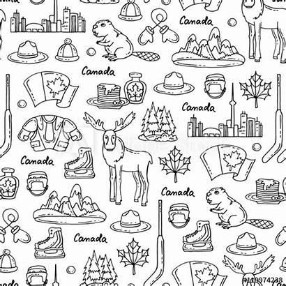 Canada Symbols Pattern Vector Seamless Theme Comp