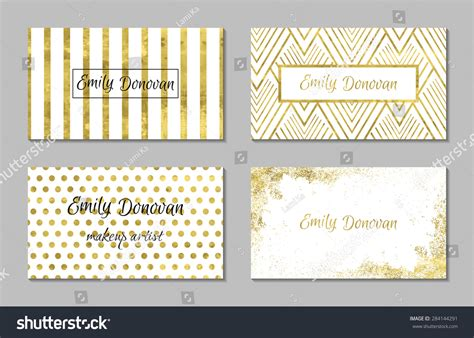 Set 4 Gold White Business Card Stock Vector 284144291 Business Card Best Quality Php Qr Code Wooden Rack Apple Store Reader Academic Qualifications Photo Booth Designs Cheap Printing Singapore Visiting Resolution In Photoshop