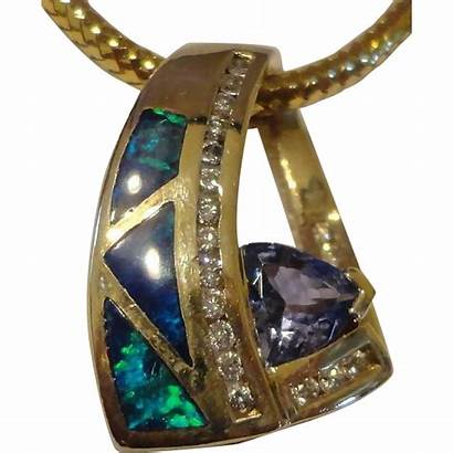 Tanzanite Carat Opal Inlay Pendant Slide Diamond