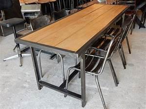 Exceptionnel Table Bois Et Metal Salle Manger 1