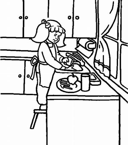Coloring Washing Kitchen Pages Dish Dishes Cooking