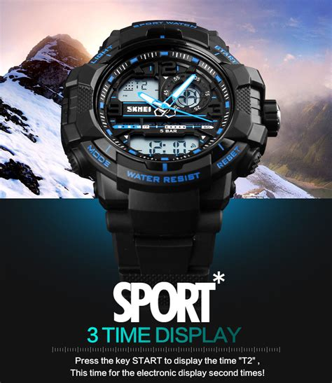 jam tangan pria sport led skmei casio anti air 50m 050 silver black skmei jam tangan analog digital pria ad1164 black blue
