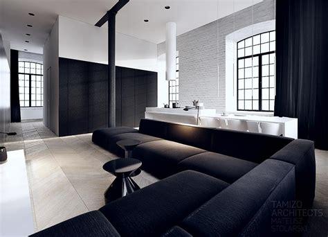 black  white interior vision   striking loft