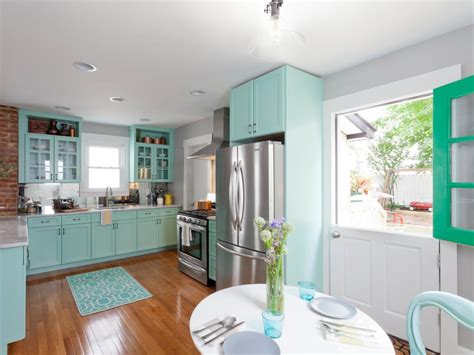 teal colored kitchens bright modern kitchen with teal cabinets and door hgtv 2681