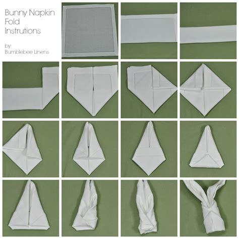 Hasen Servietten Falten by Bunny Napkin Fold Directions Fold Like An Expert