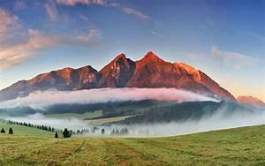 Photography, Nature, Landscape, Mountains, Sunset, Mist
