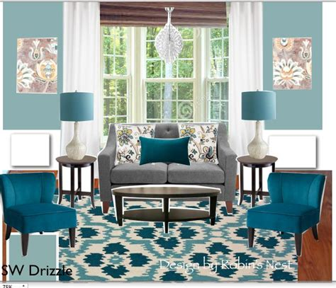 teal and gray or grey which is correct living room with