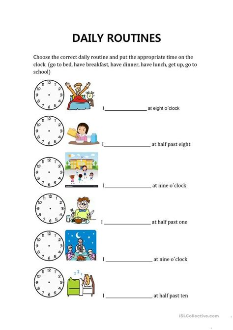 daily routines  hours scuola inglese