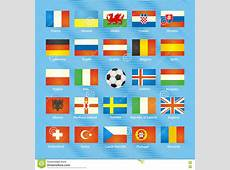 UEFA EURO 2016 Member Countries Vector Flags Stock Vector