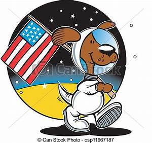 Vector of Lunar Rover - Dog in space suit on moon ...