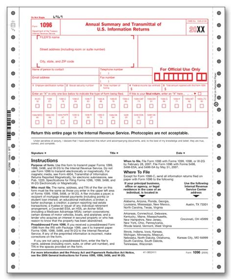 1096 Misc Form 2016 by 1096 Transmittal Continuous 2 Part For 2018 91626