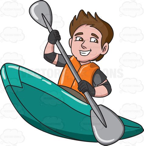 Canoe Boat Clipart by A Enjoying His Time In A Kayak Boat Vector Clip
